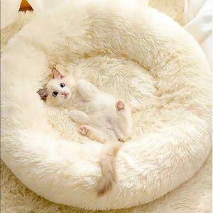 Round Plush Donut Pet Bed